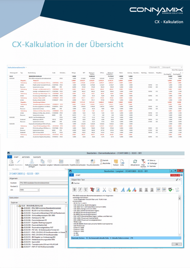 CX estimation GAEB interface Microsoft ERP